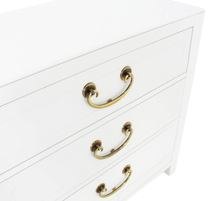 Lacquered Pair of White Lacquer Brass Pulls Bachelor Chests or Dressers For Sale