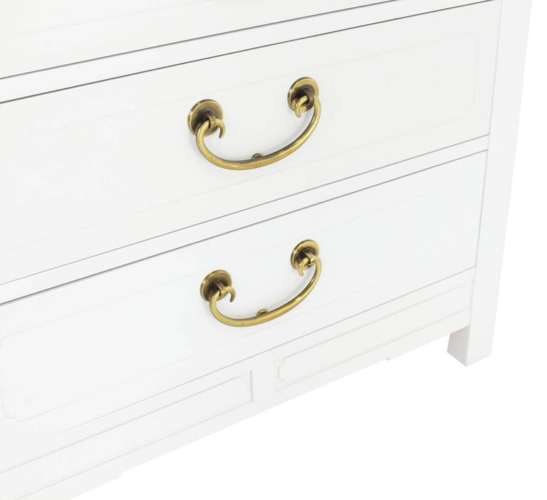 Walnut Pair of White Lacquer Brass Pulls Bachelor Chests or Dressers For Sale