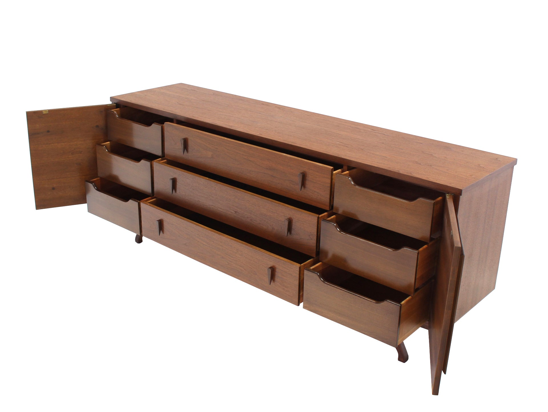 Sculptural Leg Mid Century Modern Walnut Dresser Credenza For Sale