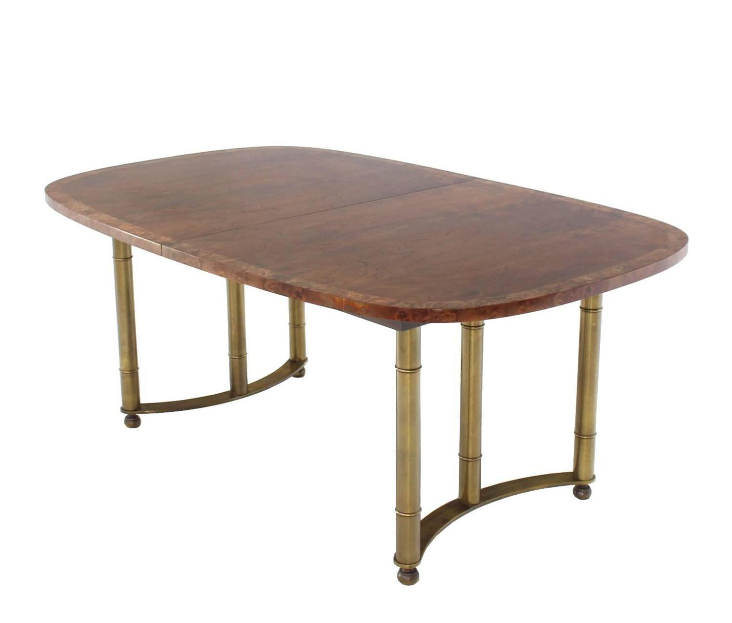 Mastercraft burl wood oval dining table with two leaves at for Wood dining room table with leaf