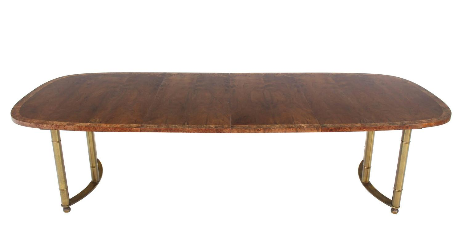 Mastercraft Burl Wood Oval Dining Table With Two Leaves At