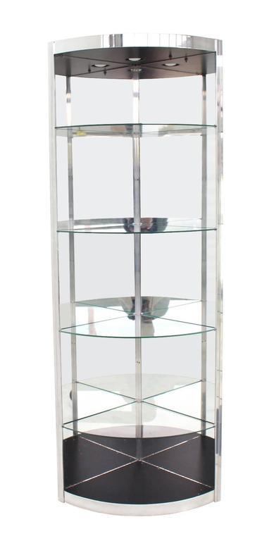 Mid-Century Modern Pair of Corner Vitrines Shelves For Sale