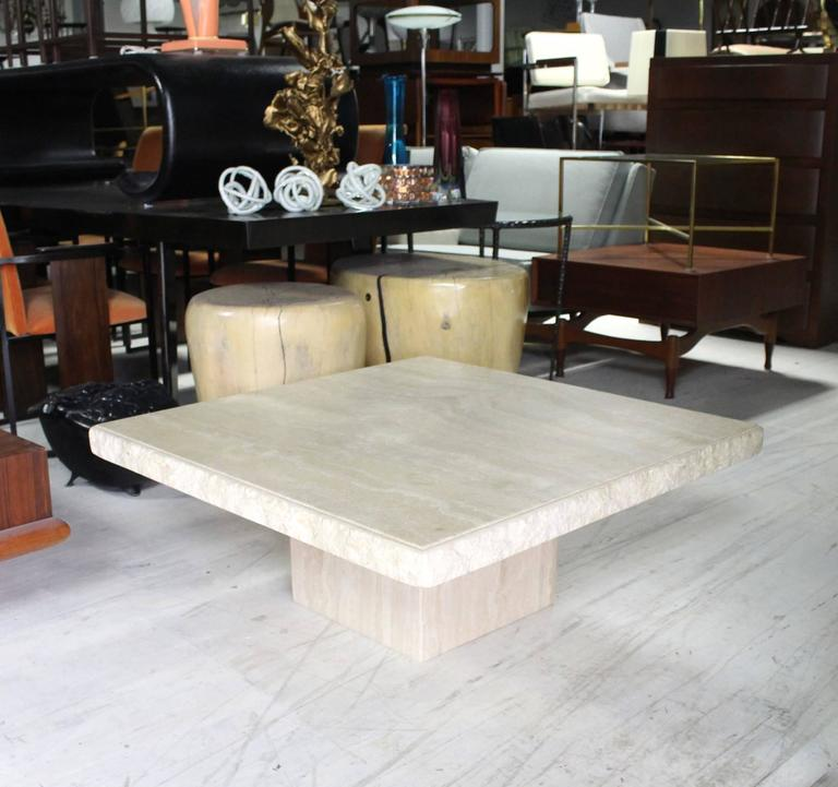Square Solid Travertine Coffee Table For Sale At Stdibs - Travertine coffee table
