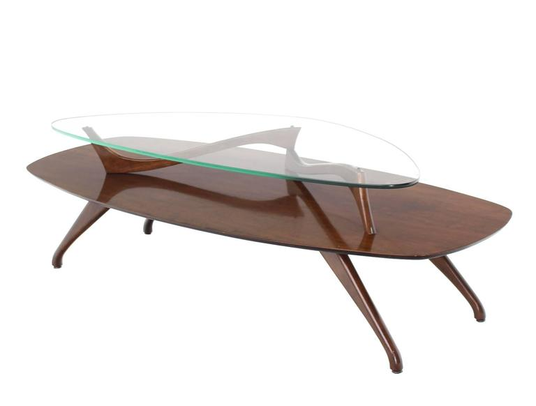 Walnut And Glass Two Tier Oval Coffee Table For Sale At 1stdibs