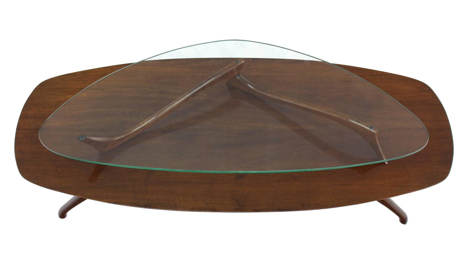Walnut and glass two tier oval coffee table for sale at 1stdibs Glass oval coffee tables