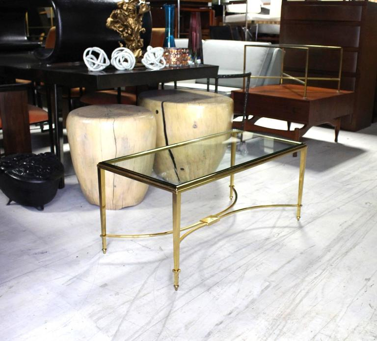 Mid-Century Modern Solid Brass and Glass Top Coffee Table For Sale
