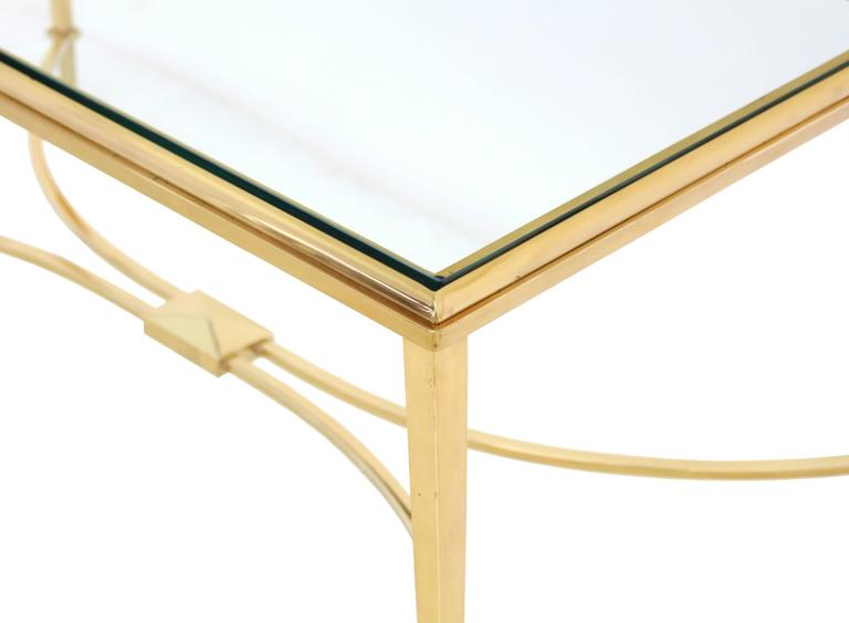 Polished Solid Brass and Glass Top Coffee Table For Sale