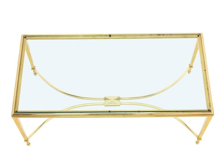20th Century Solid Brass and Glass Top Coffee Table For Sale