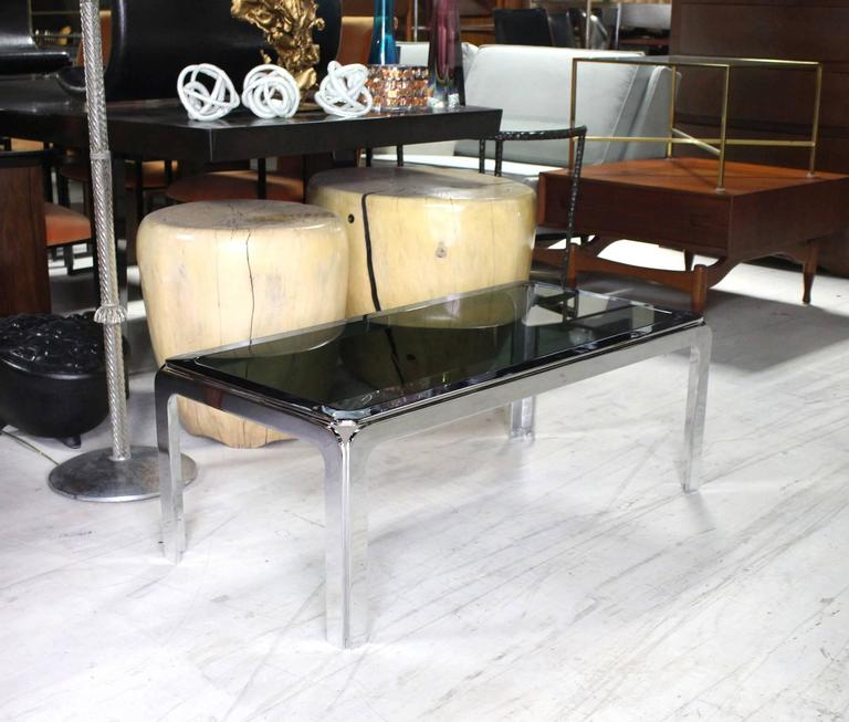 Mid-Century Modern Chrome and Smoke Glass Top Rectangular Coffee Table For Sale