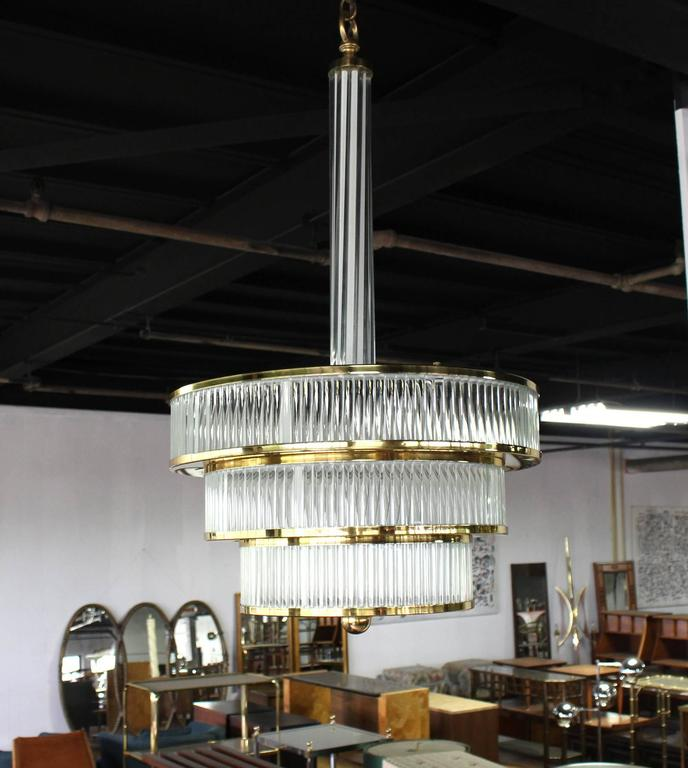 American Mid-Century Modern Glass and Brass Three-Tier Light Fixture For Sale