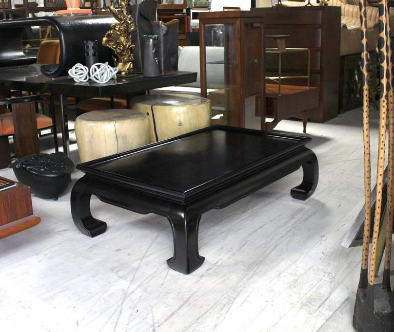 Large Black Lacquer Oriental Style Coffee Table At 1stdibs