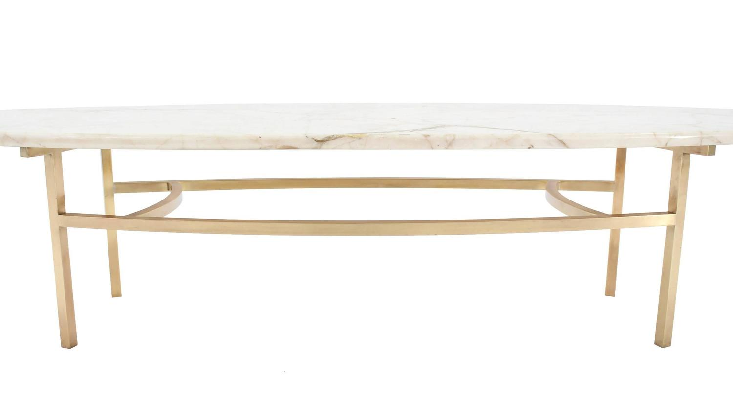 Brass And Oval Marble Top Mid Century Modern Coffee Table At 1stdibs