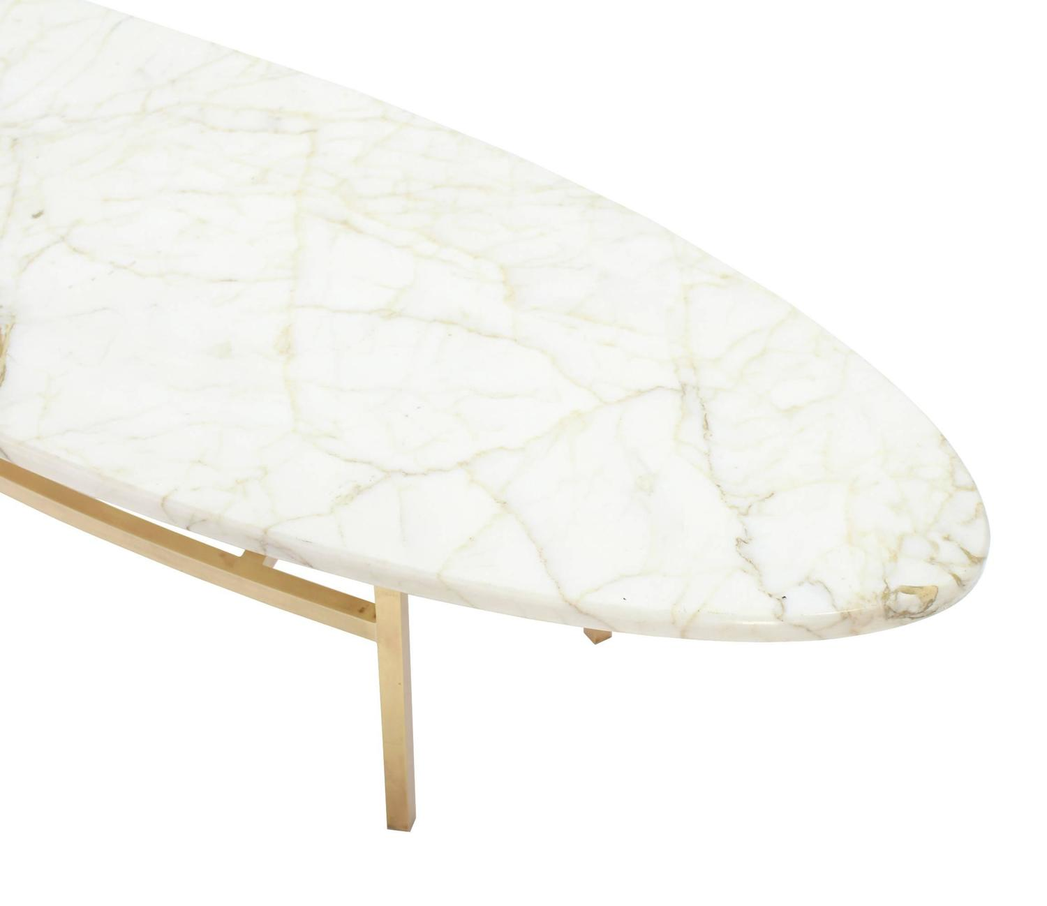 Mid Century Modern Marble Top Coffee Table: Brass And Oval Marble Top Mid-Century Modern Coffee Table