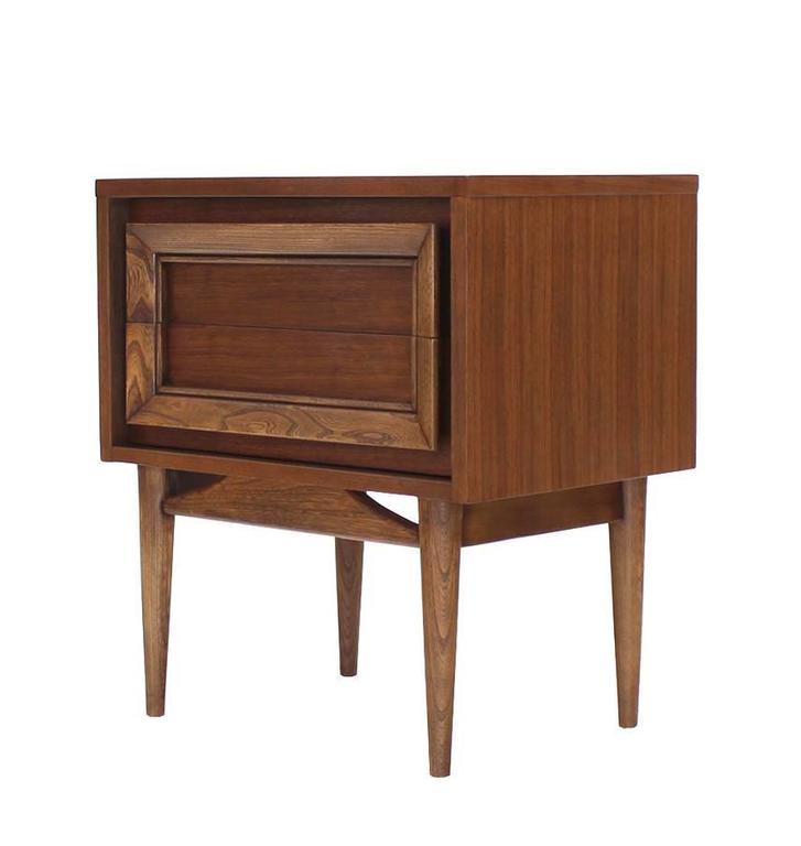 Pair of two drawer mid century modern walnut nightstands for Modern nightstands for sale