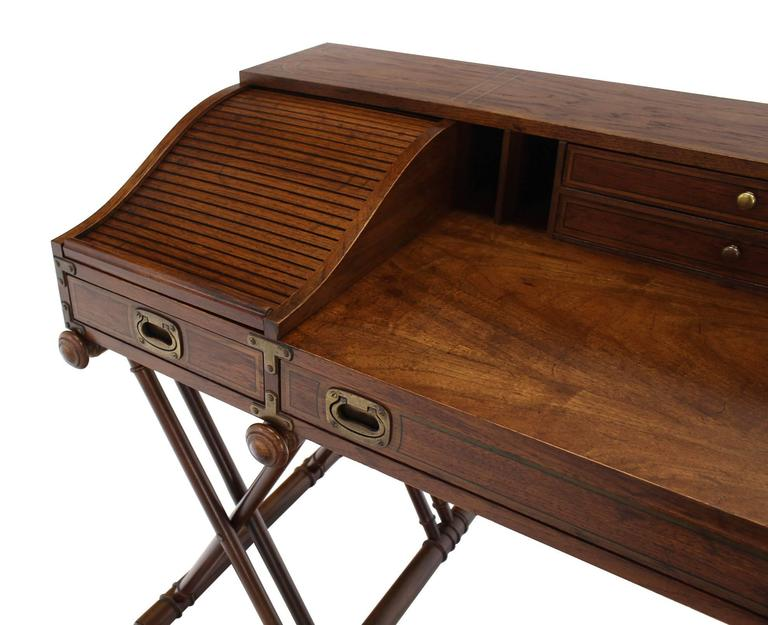 Faux Bamboo Base Campaign Secretary Roll Top Style Desk At