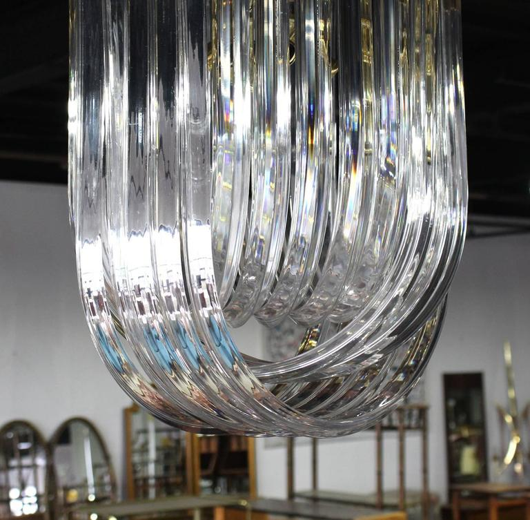 American Bent Lucite Mid-Century Modern Large Light Fixture For Sale