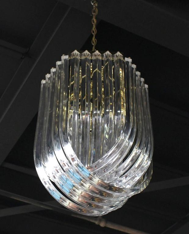 Polished Bent Lucite Mid-Century Modern Large Light Fixture For Sale