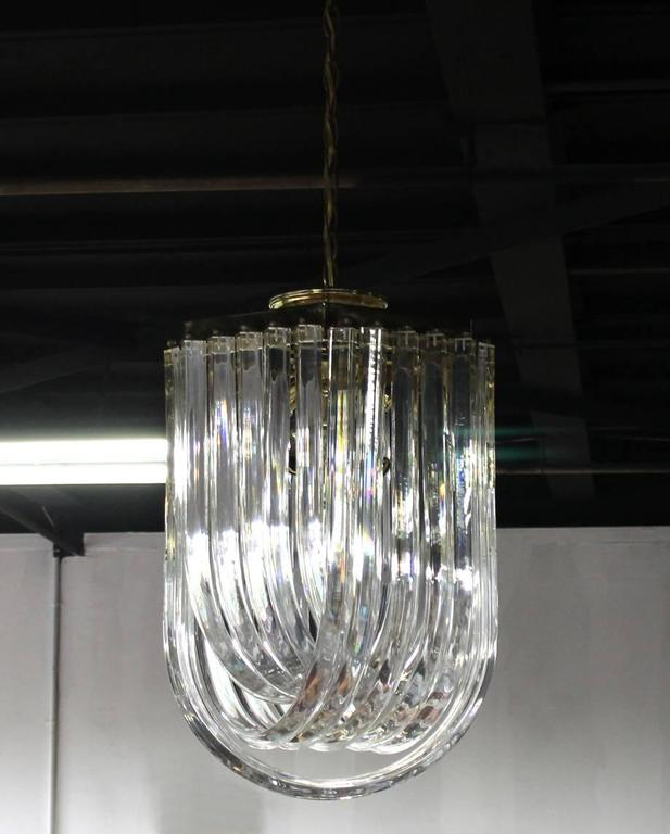 Bent Lucite Mid-Century Modern Large Light Fixture For Sale 1