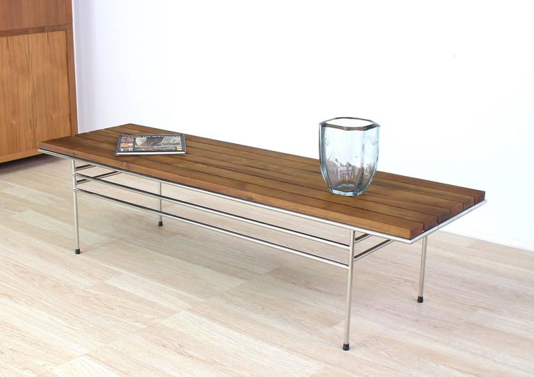 American Solid Oiled Slat Wood Top Chrome Bench For Sale