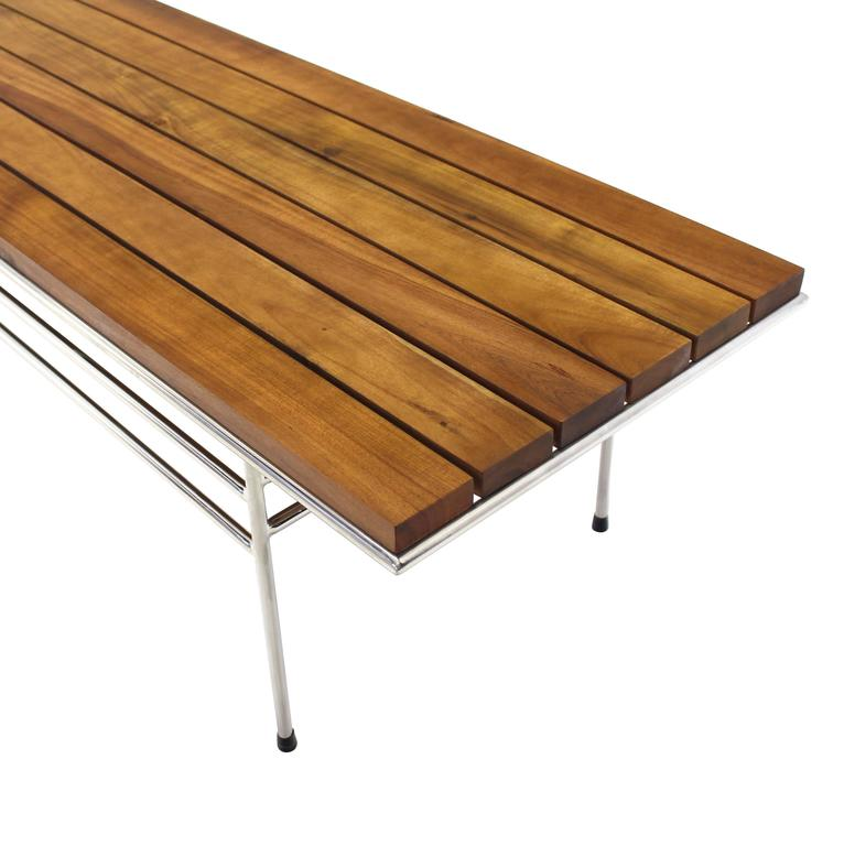 Walnut Solid Oiled Slat Wood Top Chrome Bench For Sale