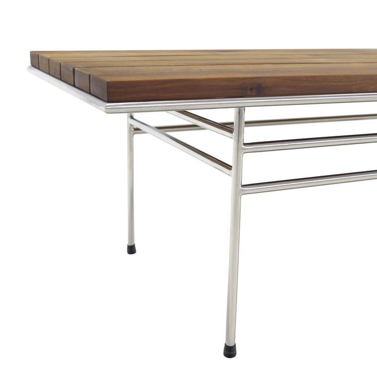 Solid Oiled Slat Wood Top Chrome Bench For Sale 2