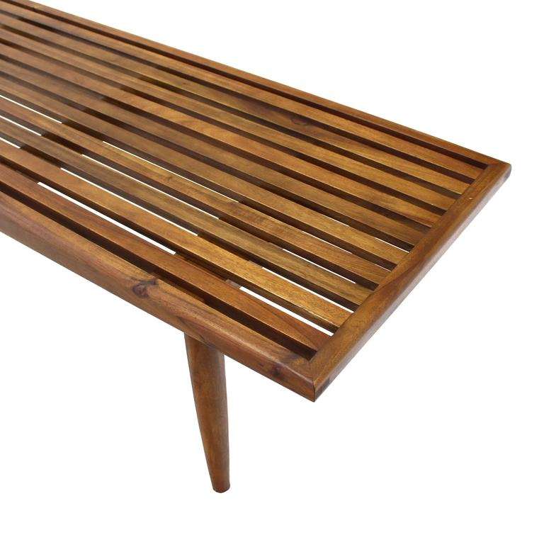 Solid Oiled Slat Wood Bench For Sale At 1stdibs