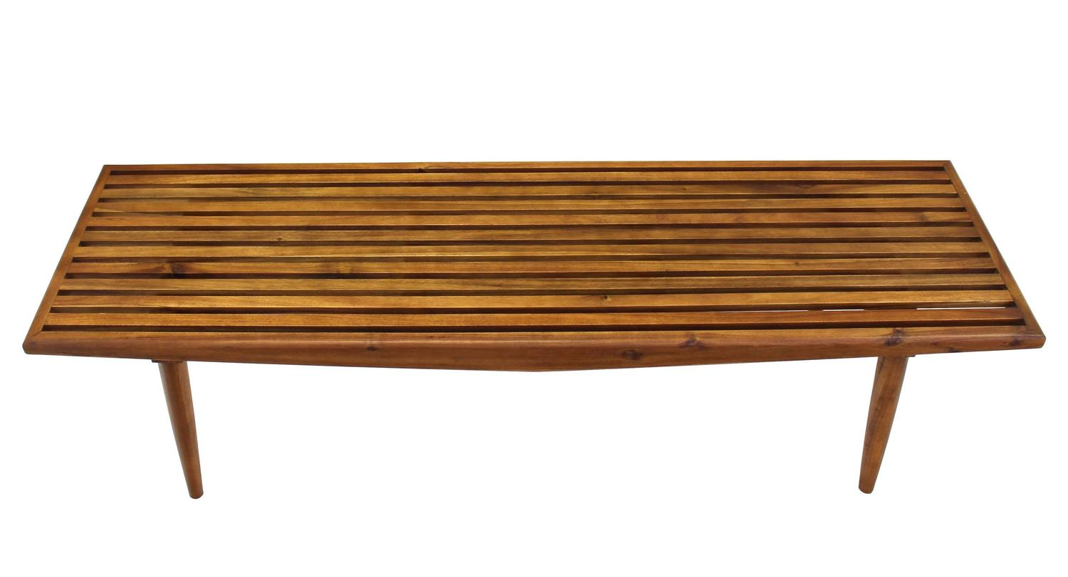 Solid Oiled Slat Wood Bench At 1stdibs