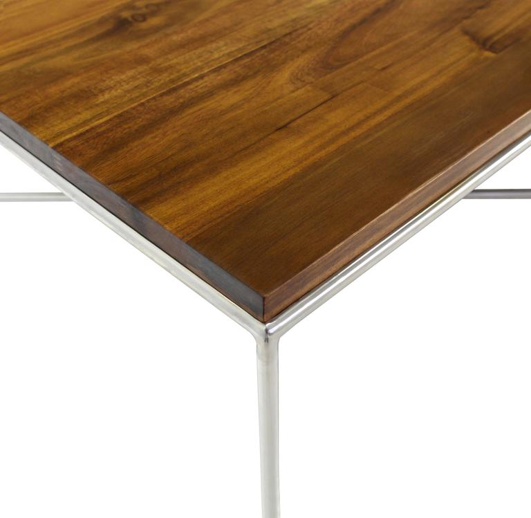 Stainless Steel Double X-Base Solid Top Chrome Base Coffee Table For Sale