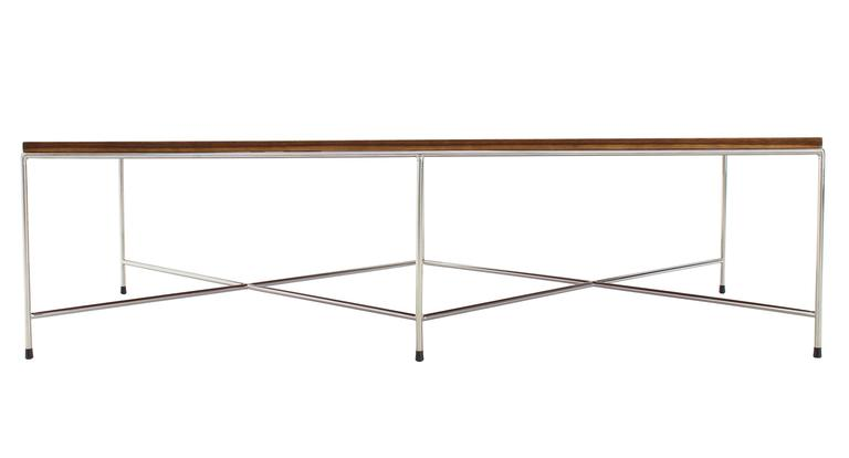 Double X-Base Solid Top Chrome Base Coffee Table For Sale 1