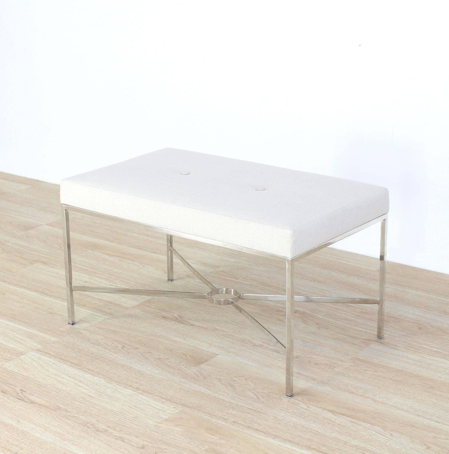 Chrome X Base Upholstered Top Bench For Sale At 1stdibs