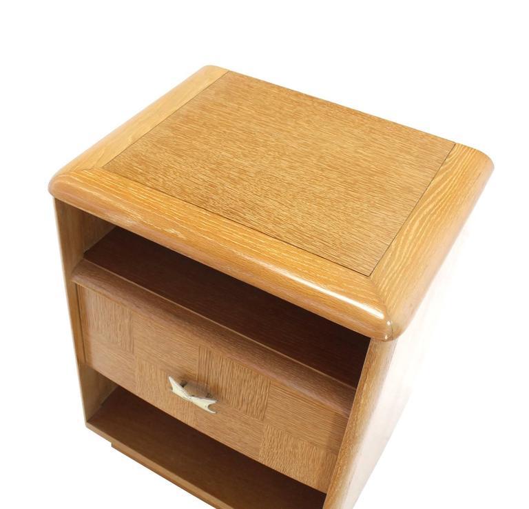 Pair of Cerused Oak Nightstands For Sale 2