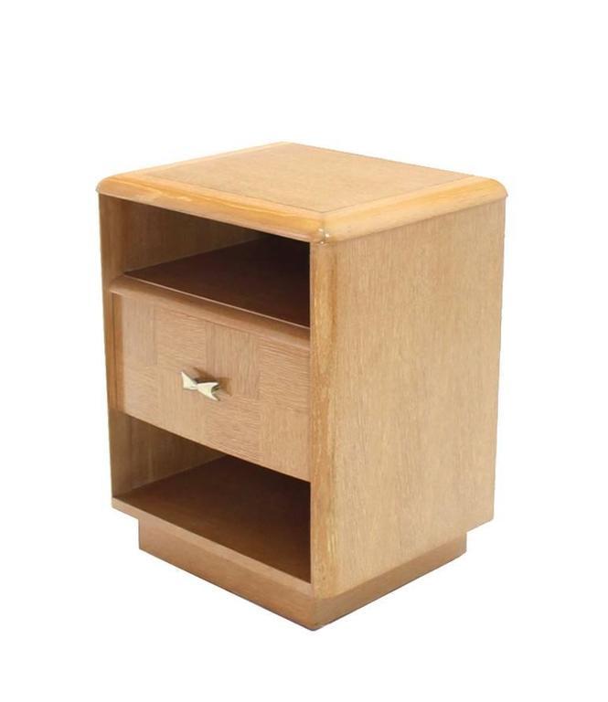 Pair of Cerused Oak Nightstands For Sale 1