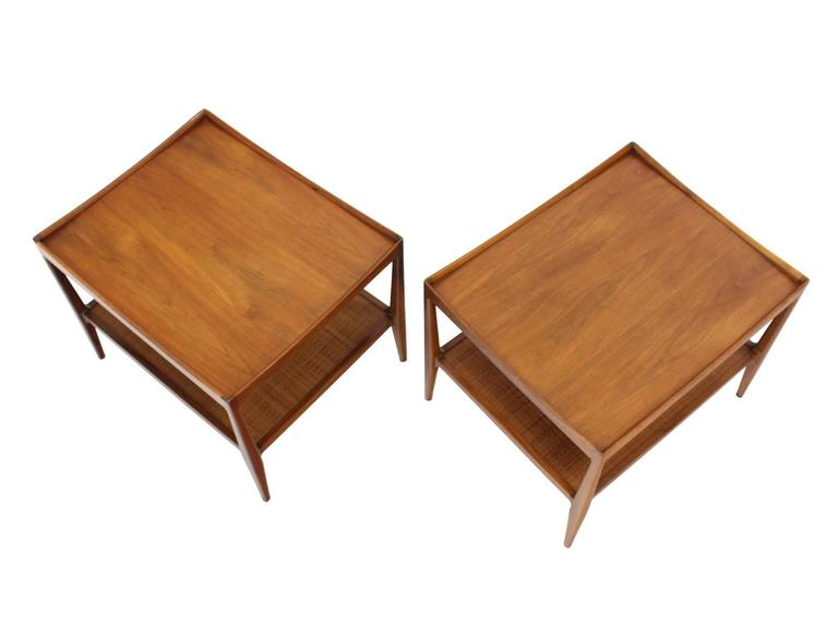 Pair of Rolled Gallery Edge Mid Century Modern Walnut End Tables 2