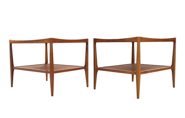 Pair of Rolled Gallery Edge Mid Century Modern Walnut End Tables 4