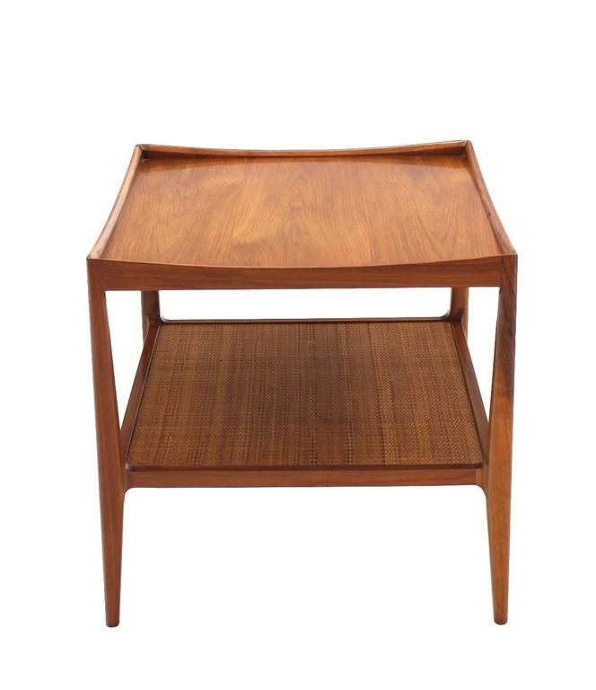 Pair of Rolled Gallery Edge Mid Century Modern Walnut End Tables 8