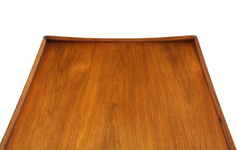 Pair of Rolled Gallery Edge Mid Century Modern Walnut End Tables 9