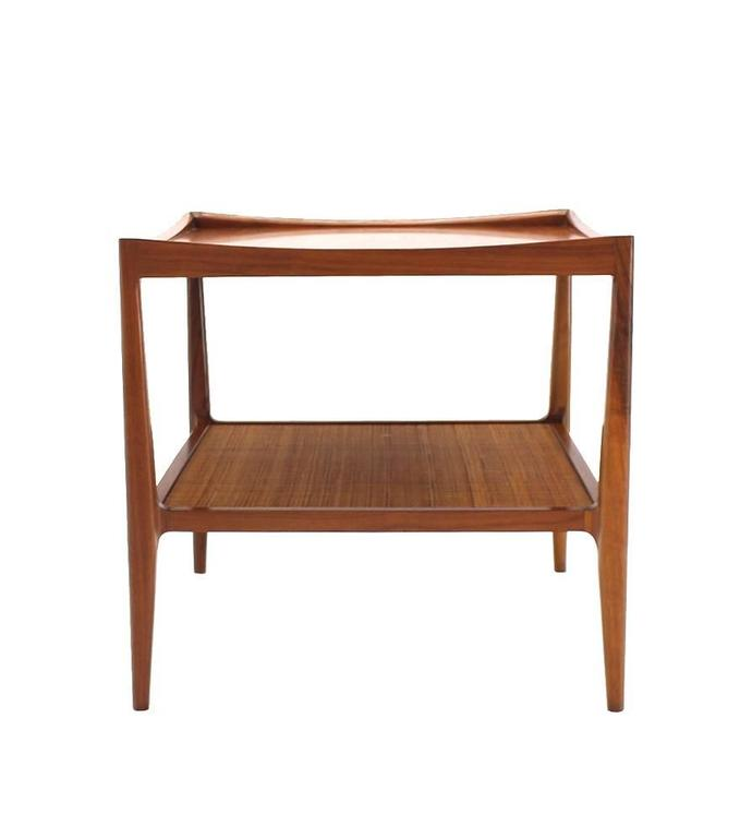Pair of Rolled Gallery Edge Mid Century Modern Walnut End Tables 10