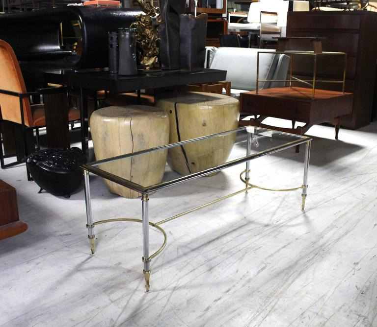 Glass Chrome And Brass Mid-Century Modern Rectangle Coffee