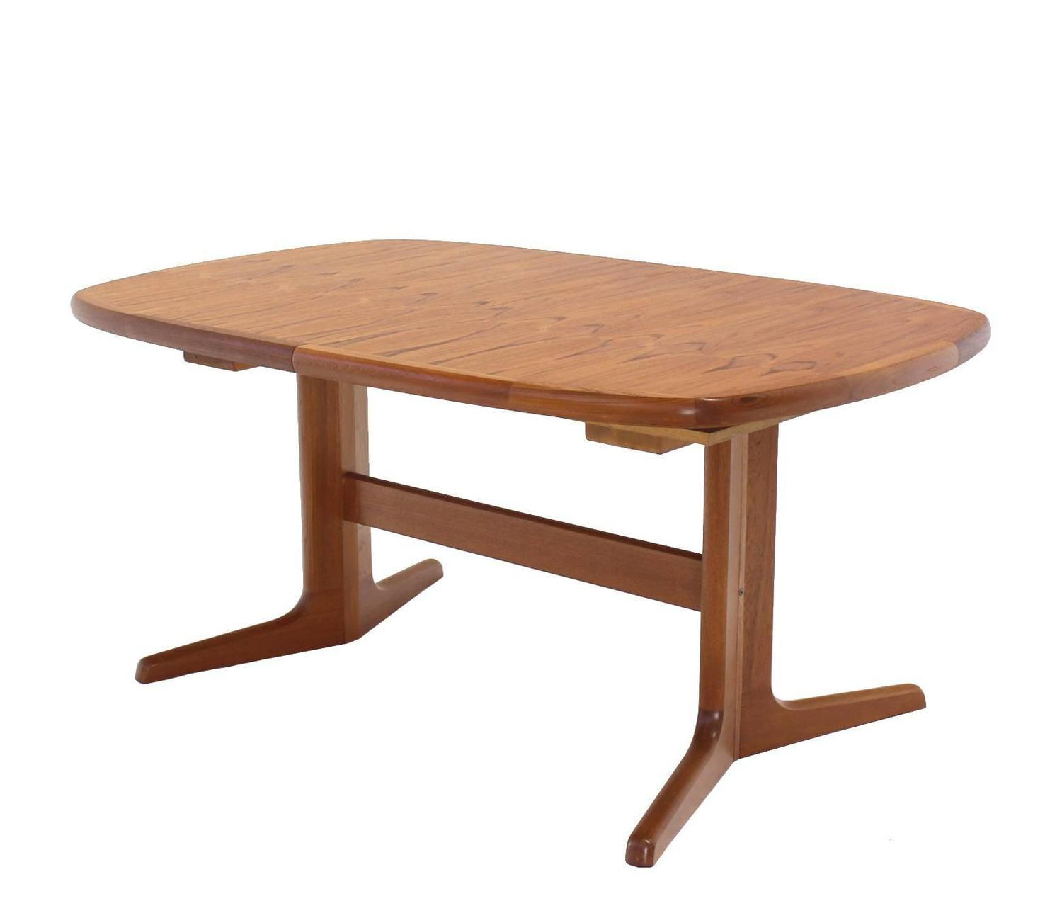 Danish mid century modern teak dining room table with two for Most beautiful dining room tables