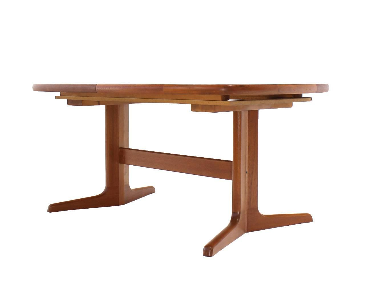 Danish mid century modern teak dining room table with two for Dining room table 2 leaves