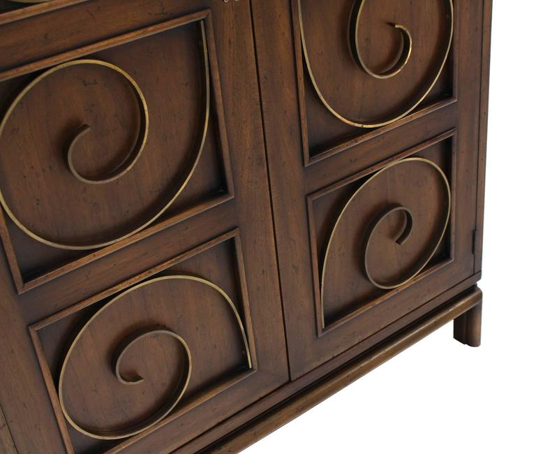 Solid Brass Scrolls Blanket Chest Cabinet For Sale 1