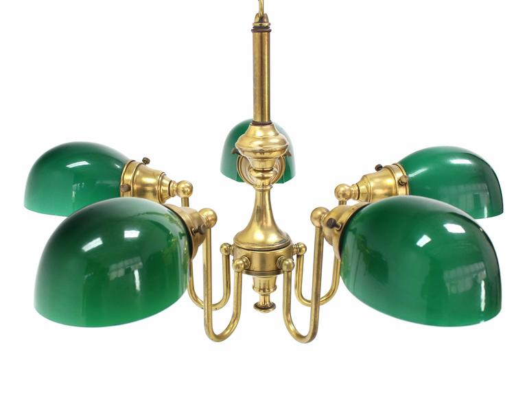 Mid-Century Modern Emerald and Glass Brass Light Fixture For Sale