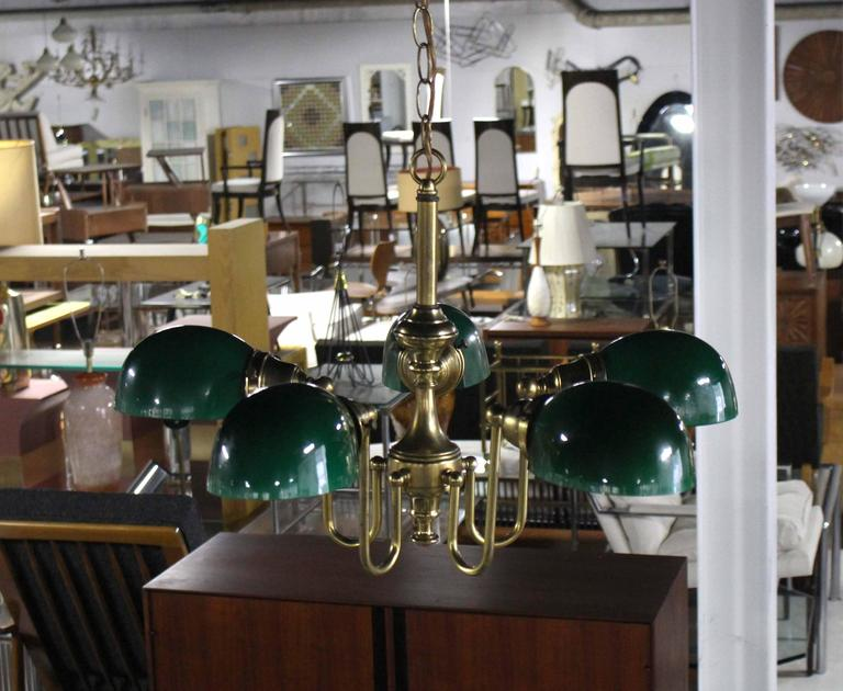 American Emerald and Glass Brass Light Fixture For Sale