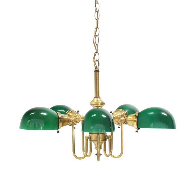 Emerald and Glass Brass Light Fixture In Good Condition For Sale In Elmwood Park, NJ