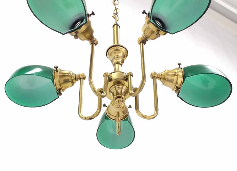 20th Century Emerald and Glass Brass Light Fixture For Sale