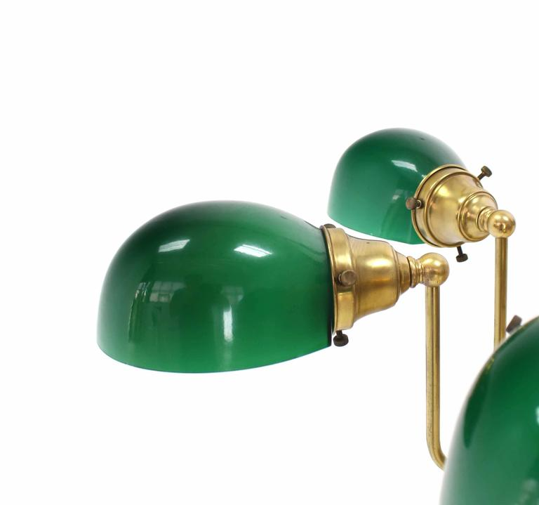 Emerald and Glass Brass Light Fixture For Sale 2