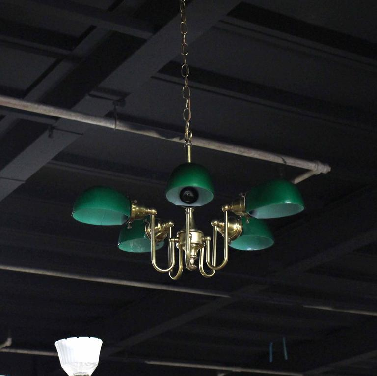 Emerald and Glass Brass Light Fixture For Sale 3