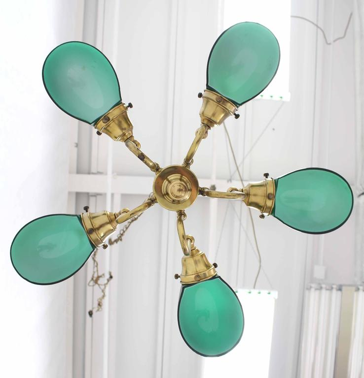 Emerald and Glass Brass Light Fixture For Sale 4