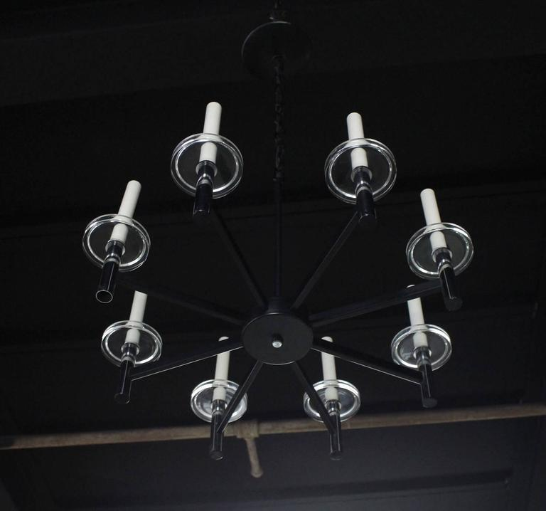 Chrome and Glass Light Fixture For Sale 4