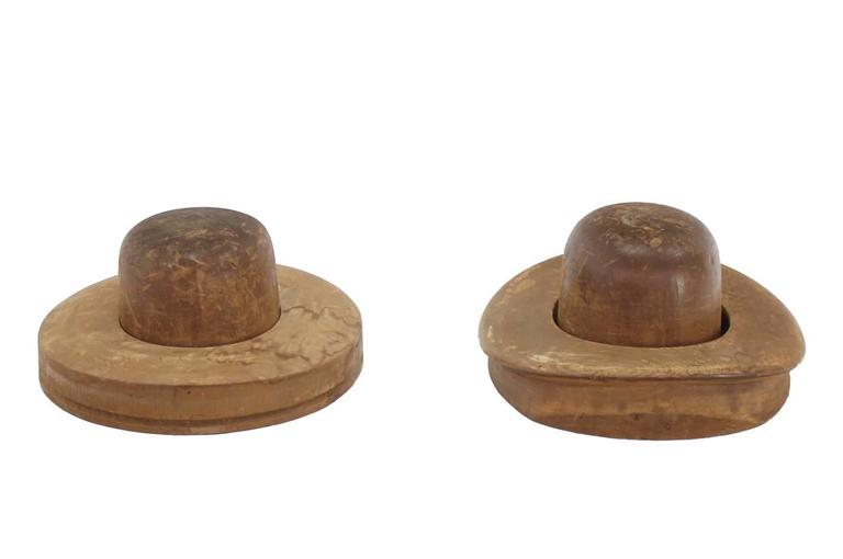 Pair of vintage or antique hat forms, dress forms.